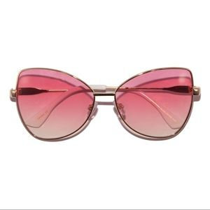 Accessories - Retro 70s Pink Ombré Metal Frame Sunglasses